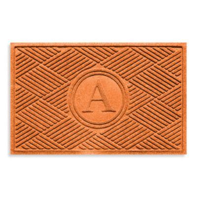 """Weather Guard™ Diamonds Monogrammed """"A"""" 23-Inch x 35-Inch Door Mat in Orange"""