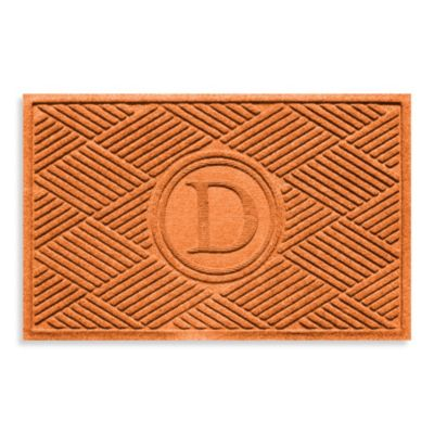 "Weather Guard™ Diamonds Monogrammed ""D"" 23-Inch x 35-Inch Door Mat in Orange"