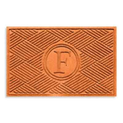 "Weather Guard™ Diamonds Monogrammed ""F"" 23-Inch x 35-Inch Door Mat in Orange"