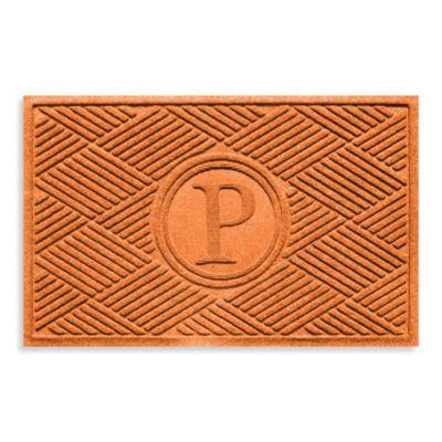 """Weather Guard™ Diamonds Monogrammed """"P"""" 23-Inch x 35-Inch Door Mat in Orange"""