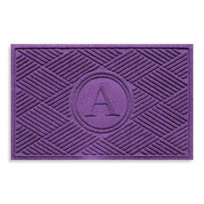 """Weather Guard™ Diamonds Monogrammed """"A"""" 23-Inch x 35-Inch Door Mat in Purple"""