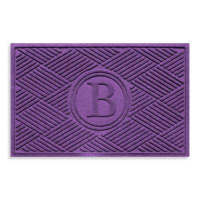 """Weather Guard™ Diamonds Monogrammed """"B"""" 23-Inch x 35-Inch Door Mat in Purple"""