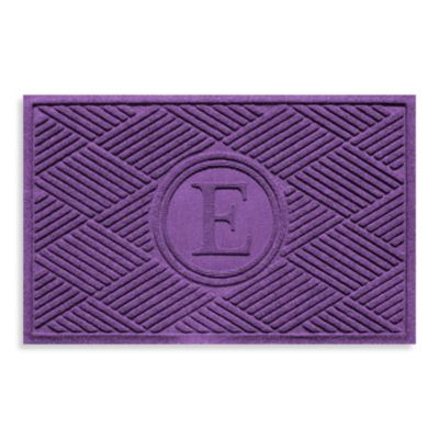 "Weather Guard™ Diamonds Monogrammed ""E"" 23-Inch x 35-Inch Door Mat in Purple"
