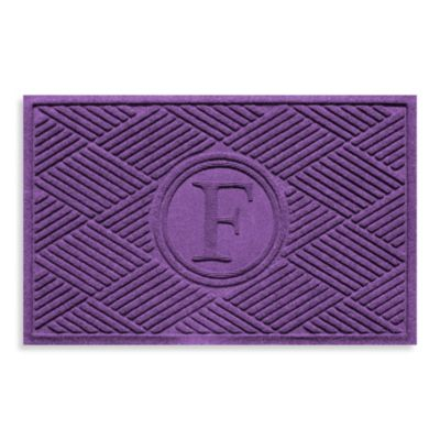 "Weather Guard™ Diamonds Monogrammed ""F"" 23-Inch x 35-Inch Door Mat in Purple"
