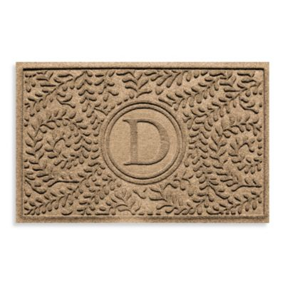 "Weather Guard™ Boxwood Monogrammed ""D"" 23-Inch x 35-Inch Door Mat in Camel"