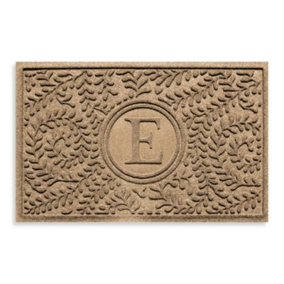 "Weather Guard™ Boxwood Monogrammed ""E"" 23-Inch x 35-Inch Door Mat in Camel"
