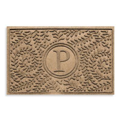 """Weather Guard™ Boxwood Monogrammed """"P"""" 2-Foot x 3-Foot Door Mat in Camel"""