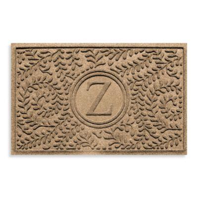 "Weather Guard™ Boxwood Monogrammed ""Z"" 23-Inch x 35-Inch Door Mat in Camel"