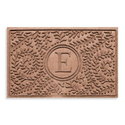 "Weather Guard™ Boxwood Monogrammed ""E"" 23-Inch x 35-Inch Door Mat in Medium Brown"