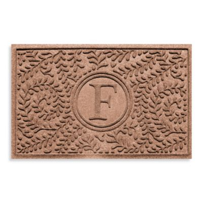 "Weather Guard™ Boxwood Monogrammed ""F"" 23-Inch x 35-Inch Door Mat in Medium Brown"