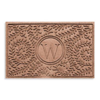 """Weather Guard™ Boxwood Monogrammed """"W"""" 23-Inch x 35-Inch Door Mat in Medium Brown"""