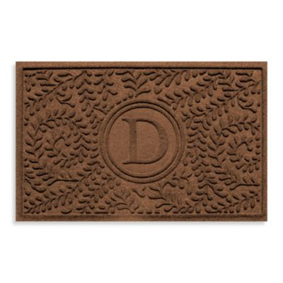 "Weather Guard™ Boxwood Monogrammed ""D"" 23-Inch x 35-Inch Door Mat in Dark Brown"