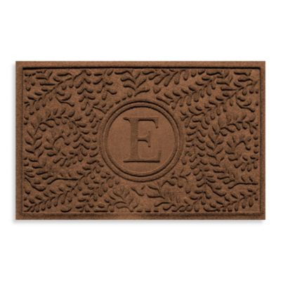 "Weather Guard™ Boxwood Monogrammed ""E"" 23-Inch x 35-Inch Door Mat in Dark Brown"