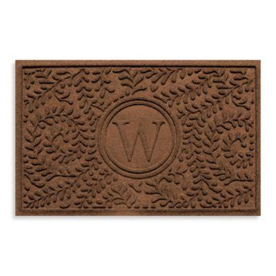 """Weather Guard™ Boxwood Monogrammed """"W"""" 23-Inch x 35-Inch Door Mat in Dark Brown"""