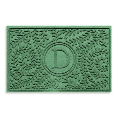 "Weather Guard™ Boxwood Monogrammed ""D"" 23-Inch x 35-Inch Door Mat in Light Green"