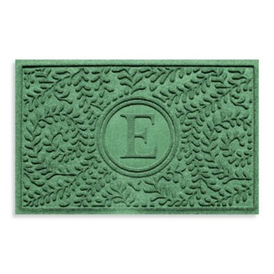 "Weather Guard™ Boxwood Monogrammed ""E"" 23-Inch x 35-Inch Door Mat in Light Green"