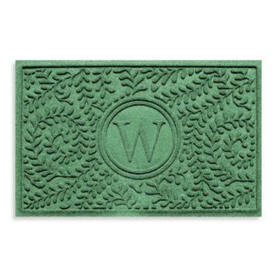 "Weather Guard™ Boxwood Monogrammed ""W"" 23-Inch x 35-Inch Door Mat in Light Green"