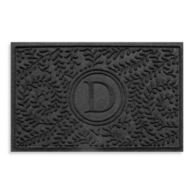 "Weather Guard™ Boxwood Monogrammed ""D"" 23-Inch x 35-Inch Door Mat in Charcoal"