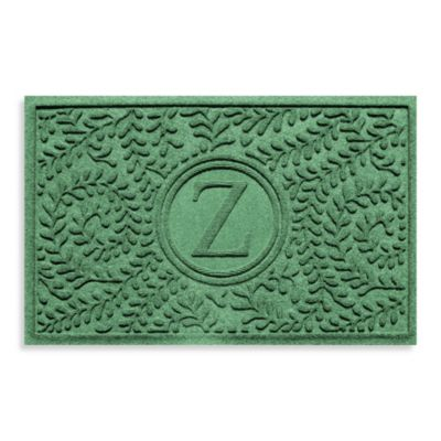 "Weather Guard™ Boxwood Monogrammed ""Z"" 23-Inch x 35-Inch Door Mat in Light Green"