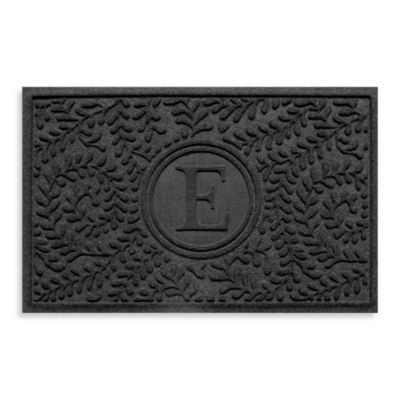 "Weather Guard™ Boxwood Monogrammed ""E"" 23-Inch x 35-Inch Door Mat in Charcoal"