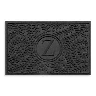 """Weather Guard™ Boxwood Monogrammed """"Z"""" 23-Inch x 35-Inch Door Mat in Charcoal"""