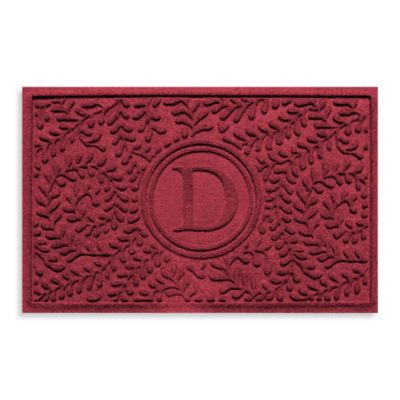 "Weather Guard™ Boxwood Monogrammed ""D"" 23-Inch x 35-Inch Door Mat in Red/Black"