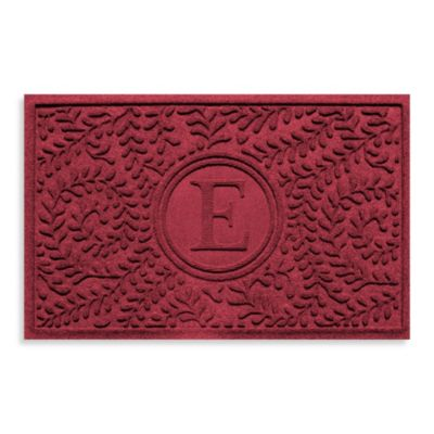 "Weather Guard™ Boxwood Monogrammed ""E"" 23-Inch x 35-Inch Door Mat in Red/Black"
