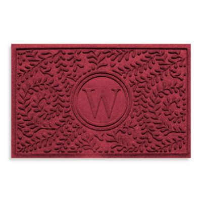 """Weather Guard™ Boxwood Monogrammed """"W"""" 23-Inch x 35-Inch Door Mat in Red/Black"""