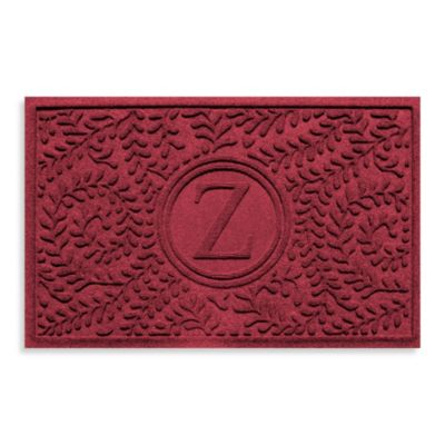 """Weather Guard™ Boxwood Monogrammed """"Z"""" 23-Inch x 35-Inch Door Mat in Red/Black"""