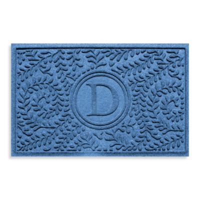 "Weather Guard™ Boxwood Monogrammed ""D"" 23-Inch x 35-Inch Door Mat in Medium Blue"