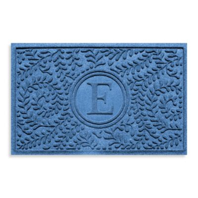 "Weather Guard™ Boxwood Monogrammed ""E"" 23-Inch x 35-Inch Door Mat in Medium Blue"