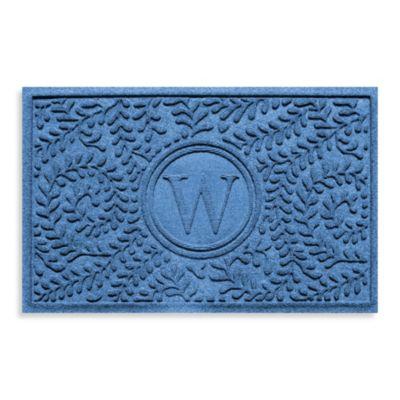 "Weather Guard™ Boxwood Monogrammed ""W"" 23-Inch x 35-Inch Door Mat in Medium Blue"