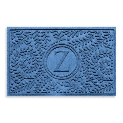 "Weather Guard™ Boxwood Monogrammed ""Z"" 23-Inch x 35-Inch Door Mat in Medium Blue"