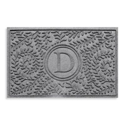 "Weather Guard™ Boxwood Monogrammed ""D"" 23-Inch x 35-Inch Door Mat in Medium Grey"