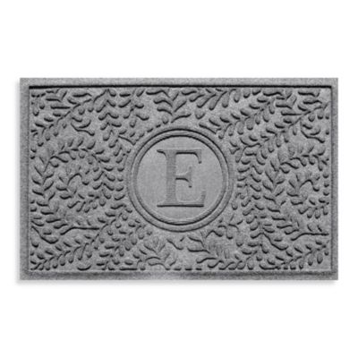 "Weather Guard™ Boxwood Monogrammed ""E"" 23-Inch x 35-Inch Door Mat in Medium Grey"