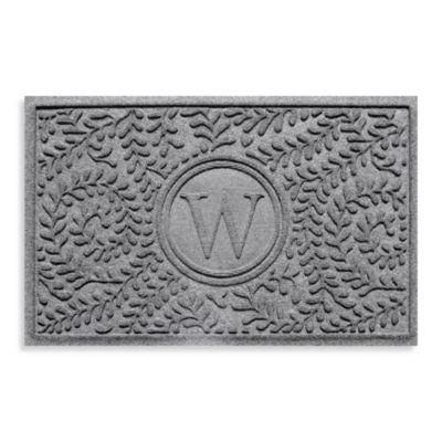 "Weather Guard™ Boxwood Monogrammed ""W""23-Inch x 35-Inch Door Mat in Medium Grey"