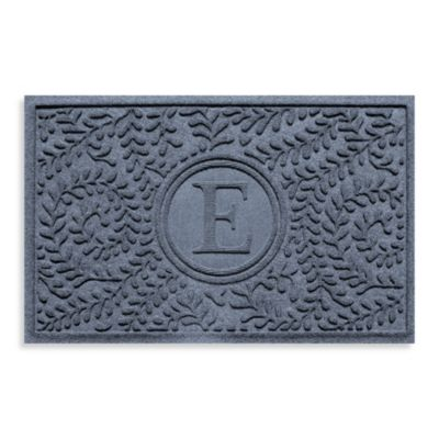"Weather Guard™ Boxwood Monogrammed ""E"" 23-Inch x 35-Inch Door Mat in Bluestone"