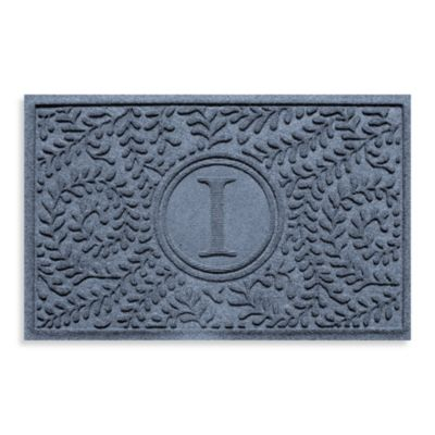 "Weather Guard™ Boxwood Monogrammed ""I"" 23-Inch x 35-Inch Door Mat in Charcoal"