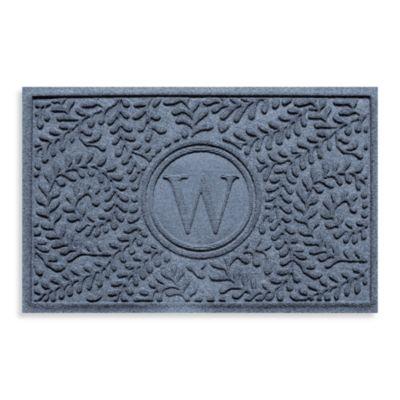"Weather Guard™ Boxwood Monogrammed ""W"" 23-Inch x 35-Inch Door Mat in Bluestone"