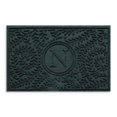 "Weather Guard™ Boxwood Monogrammed ""N"" 23-Inch x 35-Inch Door Mat in Evergreen"