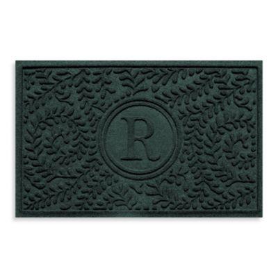 "Weather Guard™ Boxwood Monogrammed ""R"" 23-Inch x 35-Inch Door Mat in Evergreen"