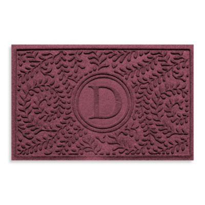 "Weather Guard™ Boxwood Monogrammed ""D"" 223-Inch x 35-Inch Door Mat in Bordeaux"