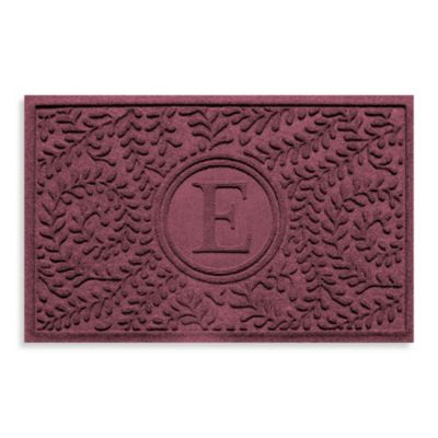 "Weather Guard™ Boxwood Monogrammed ""E"" 23-Inch x 35-Inch Door Mat in Bordeaux"