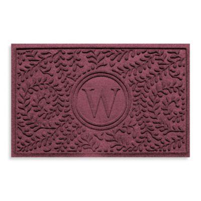 "Weather Guard™ Boxwood Monogrammed ""W"" 23-Inch x 35-Inch Door Mat in Bordeaux"