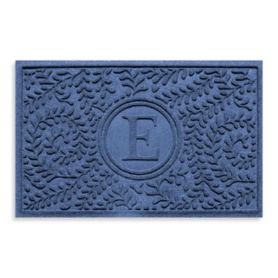 "Weather Guard™ Boxwood Monogrammed ""E"" 23-Inch x 35-Inch Door Mat in Navy"