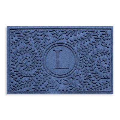 "Weather Guard™ Boxwood Monogrammed ""L"" 2-Foot x 3-Foot Door Mat in Bluestone"