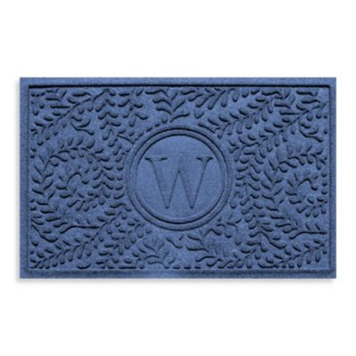 "Weather Guard™ Boxwood Monogrammed ""W"" 23-Inch x 35-Inch Door Mat in Navy"