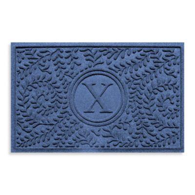 """Weather Guard™ Boxwood Monogrammed """"X"""" 2-Foot x 3-Foot Door Mat in Purple"""