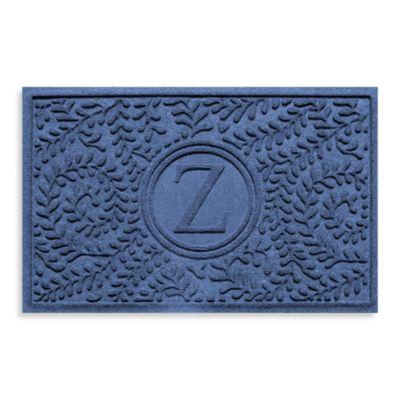 """Weather Guard™ Boxwood Monogrammed """"Z"""" 23-Inch x 35-Inch Door Mat in Navy"""
