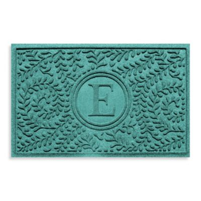 "Weather Guard™ Boxwood Monogrammed ""E"" 23-Inch x 35-Inch Door Mat in Aquamarine"